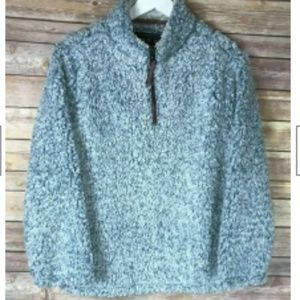 NWT TRUE GRIT Boys' Gray 1/4 Zip Pullover Sweater